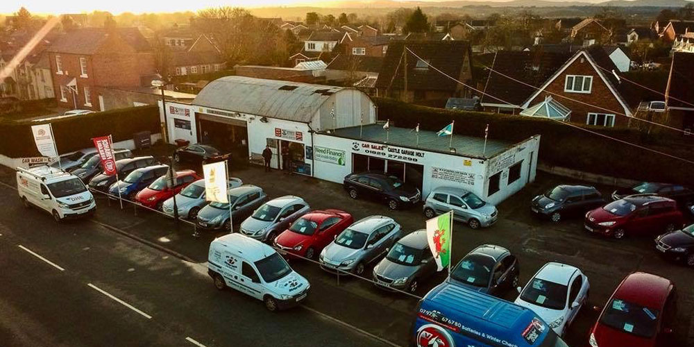 Aerial view of M&N Davies Car Sales based in Holt, Wrexham